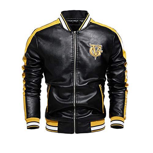 Chaqueta de los hombres de la pu abrigo de la motocicleta chaqueta de color a juego más terciopelo de cuero chaqueta