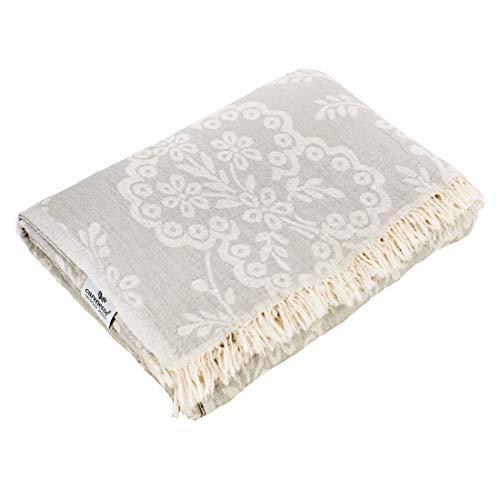 Carenesse Tagesdecke Paisley grau, 150 x 200 cm,100prozent Baumwolle, leichte dünne beidseitig schöne Decke mit kurzen Fransen, Überwurf für Bett Sofa & Couch, Tischdecke, Dekodecke