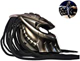 LHY Motorradhelm, Predator Vollvisierhelm mit LED-Licht Eisen-Krieger Kreative Helm mit Objektiv...