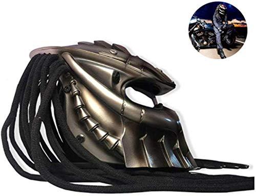 LHY Motorradhelm, Predator Vollvisierhelm mit LED-Licht Eisen-Krieger Kreative Helm mit Objektiv Anti-Fog Personality-Haar-Flechten D.O.T Sicherheits-Zertifikaten Schwarz S-XXL(51-64cm),XL