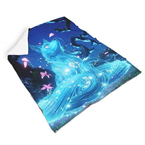 Magiböes Franela Fantasía azul zorro Kitsune impresión lujoso manta de viaje decoración exterior blanco 130 x 150 cm