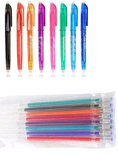 24 bolígrafos borrables de gel con punta de 0,5 mm, 8 + 16 recambios de colores adecuados para la escuela y la oficina