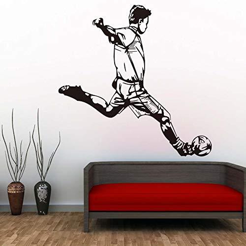 ASFGA EIN Cooler Mann Sport spielt Fußball Wandaufkleber auf dem Wohnzimmer Schlafzimmer Dekoration spezielle Fußball Wandkünstler Home Dekoration 61 cm x 58 cm