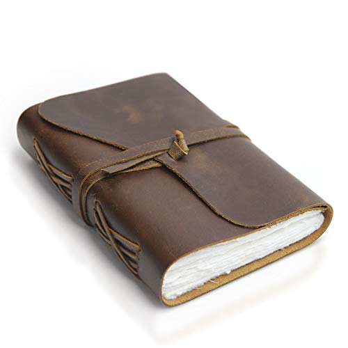 """Vintage Leather Journal - Handmade Leather Bound Notebook with Handmade Ivory Deckle Edge Paper - Perfect for Writing, Watercolors, Sketching, as a Travel Journal or Grimoire - 7"""" x 5"""""""
