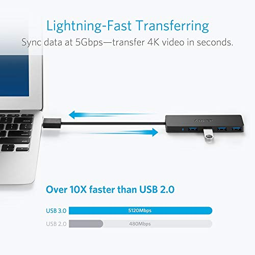 Anker Ultra Slim Extra Leicht 4 Port USB 3.0 Hub, Datenhub für MacBook, MacBook Air / Pro / Mini, iMac, MacPro, Windows Laptops und Ultrabooks, sowie PCs und mehr (Schwarz)