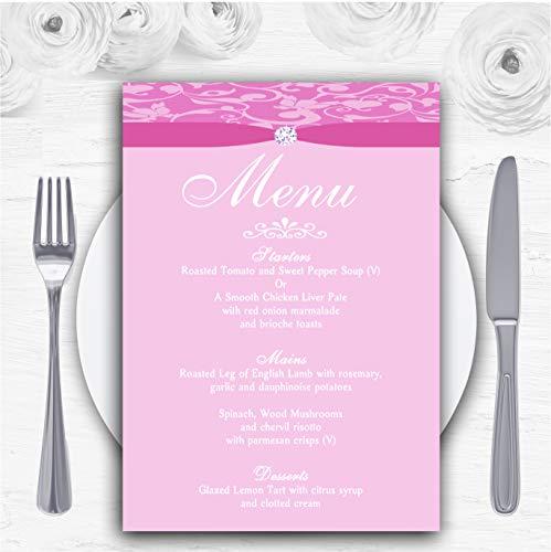 Dusty Pale Baby Rose Roze Bloemen Damask Diamante Gepersonaliseerde Bruiloft Menu Kaarten 10 x A5 Menus