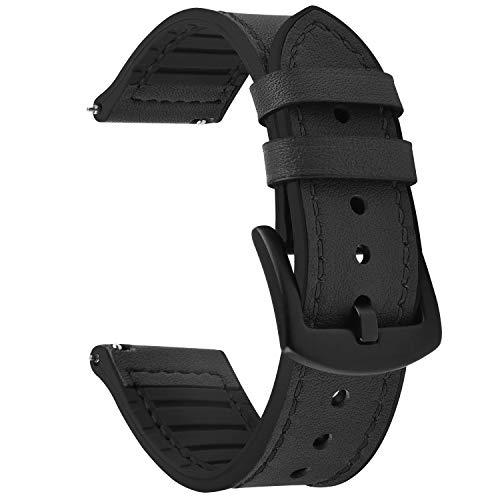 Fullmosa Correa de Reloj de liberación rápida de 22 mm, Correas de Reloj híbridas de Cuero y Silicona para Samsung Gear S3 Classic Samsung Galaxy Watch (46 mm), Garmin Active, Negro