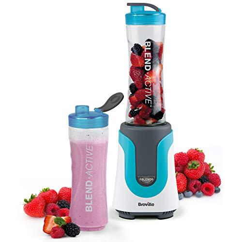 Breville Blend Active Persönlicher Mixer & Smoothie Maker mit 2 tragbaren Mischflaschen (600 ml), 300 W, Blau [VBL136]