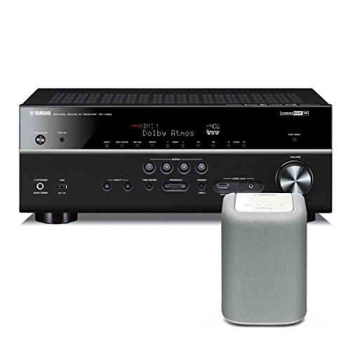 Yamaha RX-V683 7.2 Channel AV Network Receiver with Dolby Atmos and DTS:X Surround Sound with WX-010 MusicCast Wireless Speaker (White)