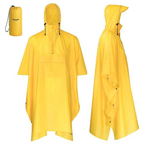 AWHA Poncho de Pluie Jaune/Unisexe - la Protection Extra Longue Contre la Pluie avec Fermeture éclair et Poche de Poitrine