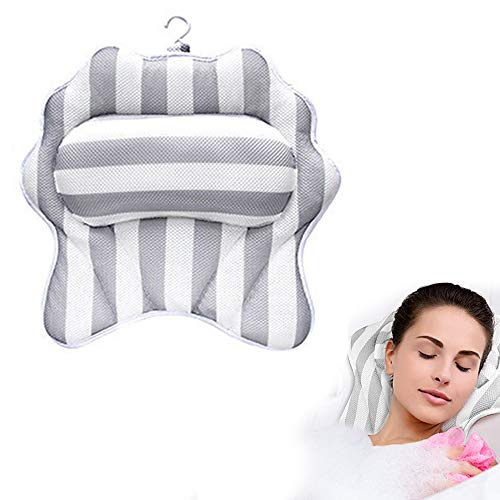 Yajun Almohada para Bañera Cojín de Antideslizante con Ventosas Cómodo Reposacabezas Antimoho Diseño de Drenaje Rápido Soporte