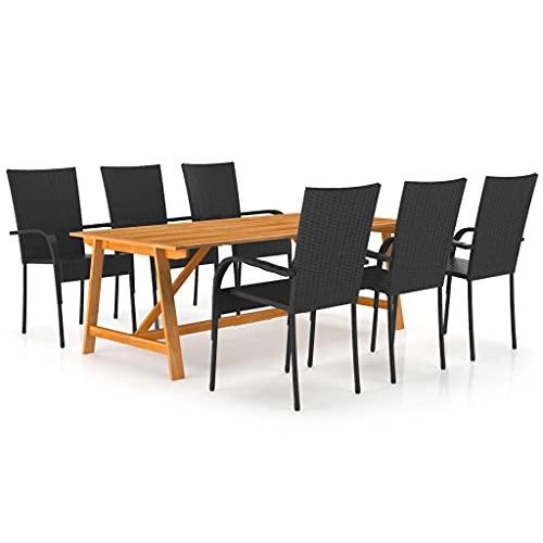 vidaXL Gartenmöbel Set 7-TLG. Gartengarnitur Sitzgruppe Sitzgarnitur Gartenset Tisch Stühle Gartentisch Gartenstuhl Esstisch Gartensessel Schwarz