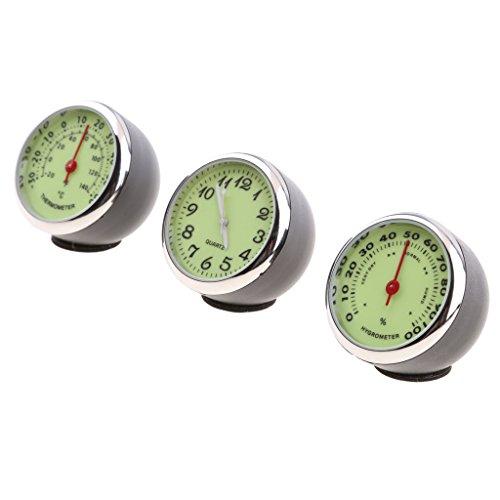 Homyl 3 Pcs Quartz Horloge Thermomètre Numérique Hygromètre Voiture Compteur Température