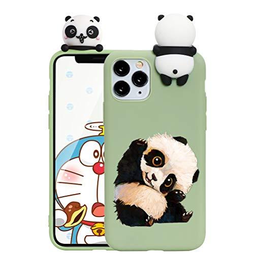 ZhuoFan Hülle für Apple iPhone 11 Pro, Silikon 3D Cartoon Süß Tiere Ultra Dünn iPhone 11Pro Handyhülle Schutzhülle mit Muster Stoßfest TPU Kinder Mädchen Design, Grüner Panda