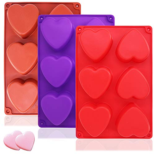 3 Packs 6 Cavities Heart Shaped Silicone Mold (Purple, Red, Brown), findTop Baking Mold Cake Pan, Biscuit Chocolate Mold, Ice Cube Tray, Soap Mold