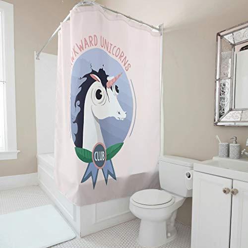 NiTIAN Peinlichen Unicorns Club patroon douchegordijn schimmelresistent stof douchegordijn badkamergordijn met ringen B x H: 200x200cm