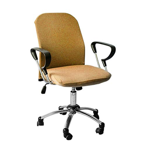 Amusingtao Funda de repuesto para silla de ordenador de oficina, lavable, para silla giratoria universal, de alta elasticidad, para silla de oficina, funda de silla de oficina (camel)