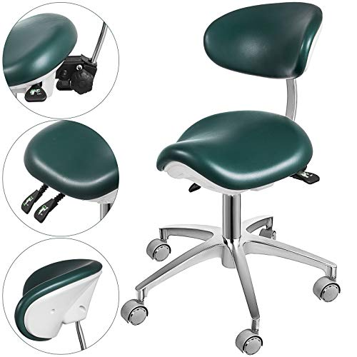 Happybuy Standard Dental Mobile Chair Saddle Doctor's Stool PU Leather Dentist Chair Dental Stool Height Adjustable for Dentists and Office (Green)