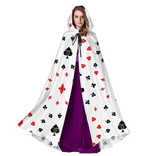 Yushg Jugando a Las Cartas y al póker Capa con Capucha para Hombre Capa con Capucha para Mujer 59 Pulgadas para Navidad Disfraces de Halloween Cosplay