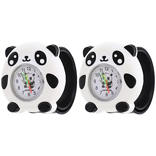 ifundom 2 Pieces Kids Panda Watch 3D Cartoon Waterproof Silicone Wristwatch Halloween Christmas for Children Toddler Baby Girls Boys Little Child ( Blue )