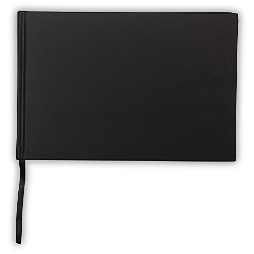 """Samsill Black Hardcover Guest Book 9"""" x 6"""", Guest Registry Book for All Occasions, Weddings, Funerals, Showers, Graduation, Cream Paper, Ribbon Bookmark"""
