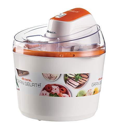 Ariete 642 Eismaschine für große Eis, 1,5 l, transparenter Deckel, doppelwandige Isolierung, Ein-/Aus-Taste, Weiß Orange