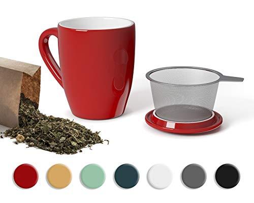 SECRET DE GOURMET Tisaniera Infusiera in Ceramica - Tazza Tisana con Infusore e Coperchio - Infusore tè Porcellana per Una Persona - 320 ml