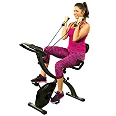 UPRIGHT POSITION EXERCISE BIKE: Gives you a high-intensity workout that helps you can blast calories. Built-in Arm Resistance Bands allow you to sculpt and tone arm muscles while you cycle RECUMBENT POSITION EXERCISE SPIN BIKE: Offers a low-impact si...