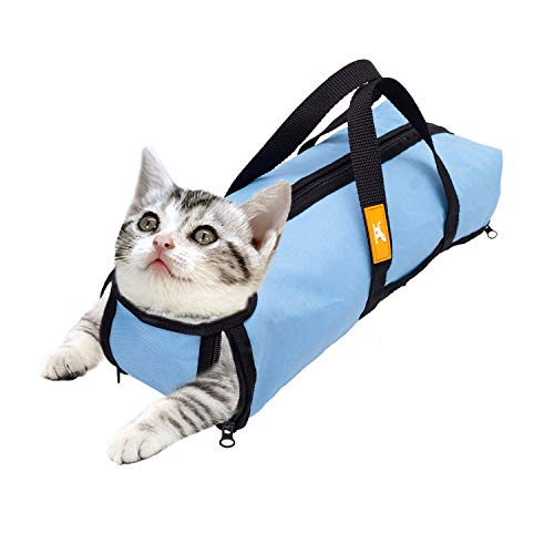 wintchuk Cat Grooming Restraint Bag for Bathing Washing Nail Trimming Anti Bite Anti Scratch 4 Sizes(M, Light Blue)