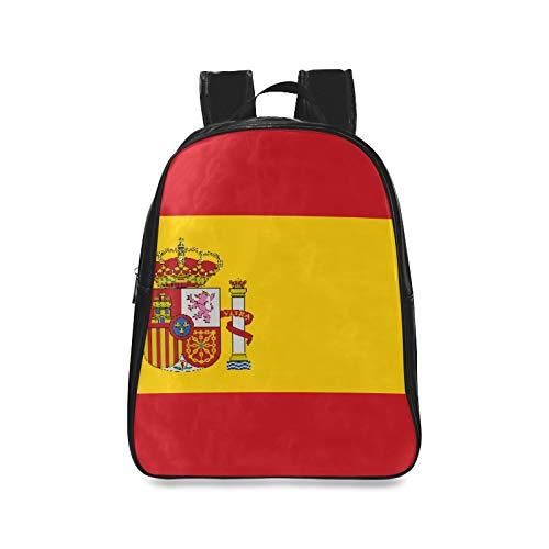 Alta Detallada Bandera España Mochilas Escolares para la Universidad Caminata Mochila Moda Damas Bolsos Imprimir Cremallera Estudiantes Unisex Adultos Adolescentes Regalo