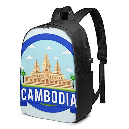 Laptop Rucksack Business Rucksack für 17 Zoll Laptop, Kambodscha Travel Tour Point Schulrucksack Mit USB Port für Arbeit Wandern Reisen Camping, für Herren Damen