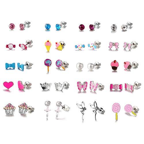 NATCUE 20 Coppie Simpatici Orecchini Set per Bambina Donne, Gelato, Cuore, Orecchini di Perle (bambini)
