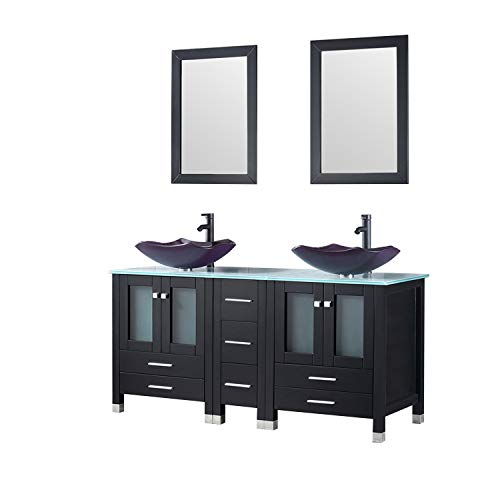 Walcut 60Inch Black Bathroom Vanity Sink Combo Solid MDF Cabinet with Purple Double Glass Vessel Sink and Faucet with Pop Up Drain Combo