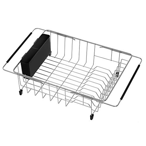 SANNO Large Expandable Dish Drying Rack with Removable Utensil Silverware...