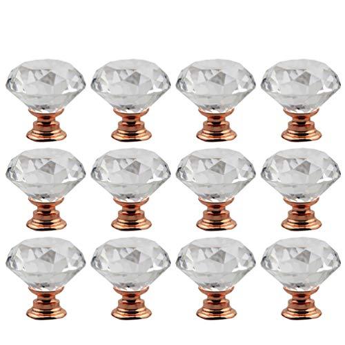 DOITOOL 12 pomelli in cristallo a forma di diamante per armadietti e cassetti, cassetti con ferramenta vintage con viti per armadietti, mobili e cucine (30 mm, base oro rosa)