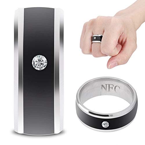 Wosune Anillo Inteligente NFC, Anillo Inteligente para Dispositivo portátil a Prueba de Agua, Chip NFC ultrasensible Incorporado, para teléfono móvil(size6)