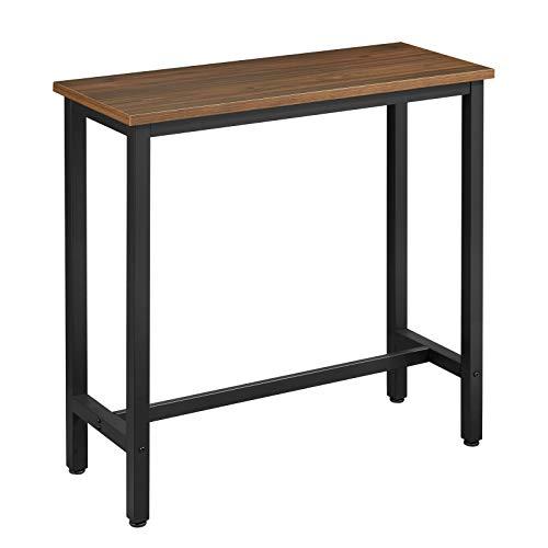 WOLTU 1 X Table de Bar Table de bistrot Structure en métal Plateau en aggloméré,Table Haute Table à Manger 100x40x100cm,Hêtre Foncé BT33dc