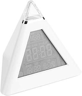 Raguso LED-färgändrande pyramid digital LCD väckarklocka nattduksbord väckarklocka nattlampa för barn skrivbord bord hemin...