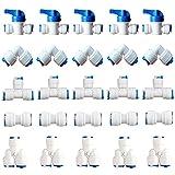 Tubo de Suministro de Agua,25 pzsconectores de refrigerador,Osmosis Inversa Sistema de Filtro Paquete,Inversa Válvula De Cierre En Línea(Tubo Y + Tubo T +Tubo I + Tubo L Combo + Válvula de Cierre)