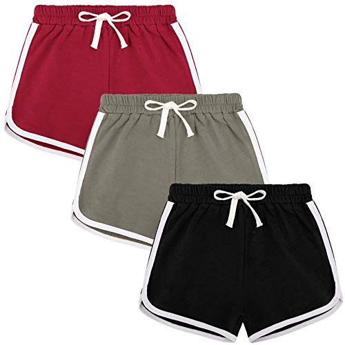 BOOPH 3Pc Girls Athletic Shorts Active Running Dolphin Shorts 10-12 Year Color B