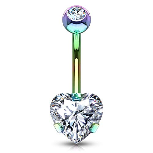 Curved Barbell Christina Vertical Hood VCH Heart Jewelry Piercing 1/2 MULTI - GOLD