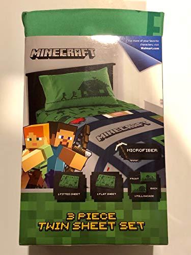 Minecraft Bettwäsche-Set für Doppelbett, 3-teilig, Grün