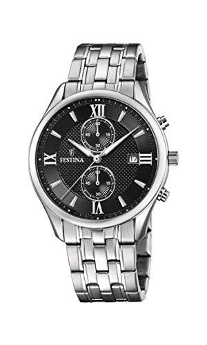 Festina Herren Chronograph Quarz Uhr mit Edelstahl Armband F6854/8