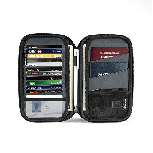 tomtoc 家族旅行 パスポートケース SIMカードスロット付き、 スキミング防止 海外旅行 パスポート入れ、 撥水加工 通帳ケース 航空券対応 ポーチ バッグ カード入れ ハンドストラップ付き、 男女兼用、 パスポート4冊 カード11枚 PUレザー、