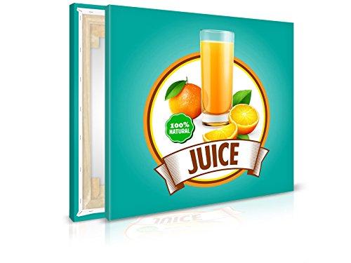 XXL-behang canvasfoto Oranje Drink Sticker - reeds opgespannen - schilderijen, kunstdruk, wandschildering, spieraam, afbeelding op canvas van trendy muren 40x40cm