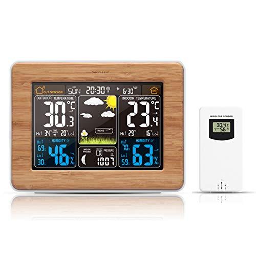 Haokaini Draadloze Digitale Weerstation Alarm Klok, Kleurrijke LED Alarm Klok met Snooze Functie Thermometer Vochtigheid Barometer