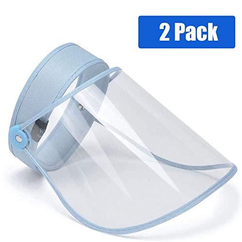 Duvets Escudo Facial de Protección al Aire Libre Visera Protectora Antigotas Transparente Careta de Seguridad de Cara Completa para el hogar, Cocina y Uso Personal, Azul