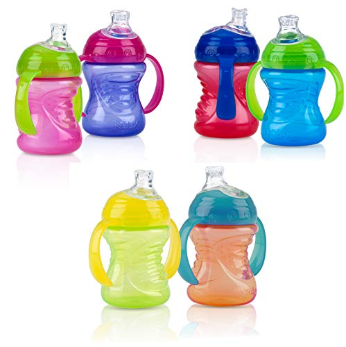 Nuby Two-Handle No-Spill Super Spout Grip N' Sip Cups, 8 Ounce (2 Count, Multi)
