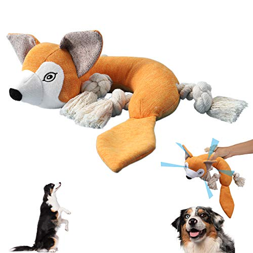 Geburun Plush Dog Toy Interactive Puppy Squeaky Toys with Crinkle Paper and 4 Knots Sturdy Dog Chew Toys Avoid Boredom for Puppy Dogs and Medium Dogs  Fox