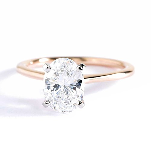 Anillo de compromiso de oro rosa de 18 K con diamante solitario de corte ovalado pequeño VS2 D de 1 quilate